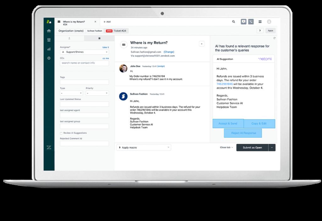 Netomi virtual agent sprinklr integration dashboard